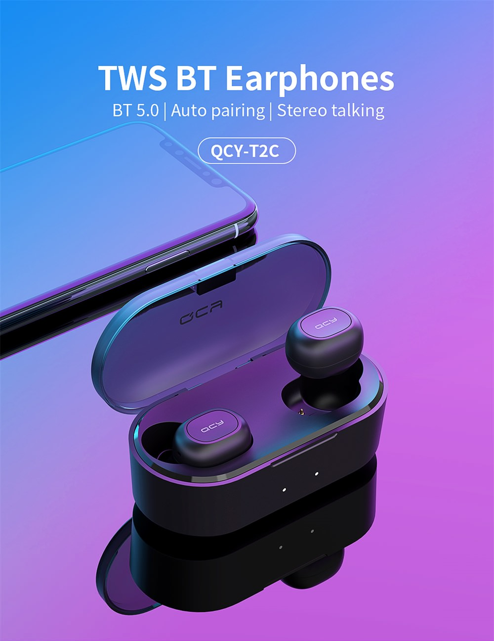 [bluetooth 5.0] QCY T2C Mini TWS Earphone HiFi Magnetic Bilateral Call Auto Pairing Stereo Waterproof Headphone from xiaomi Eco-System
