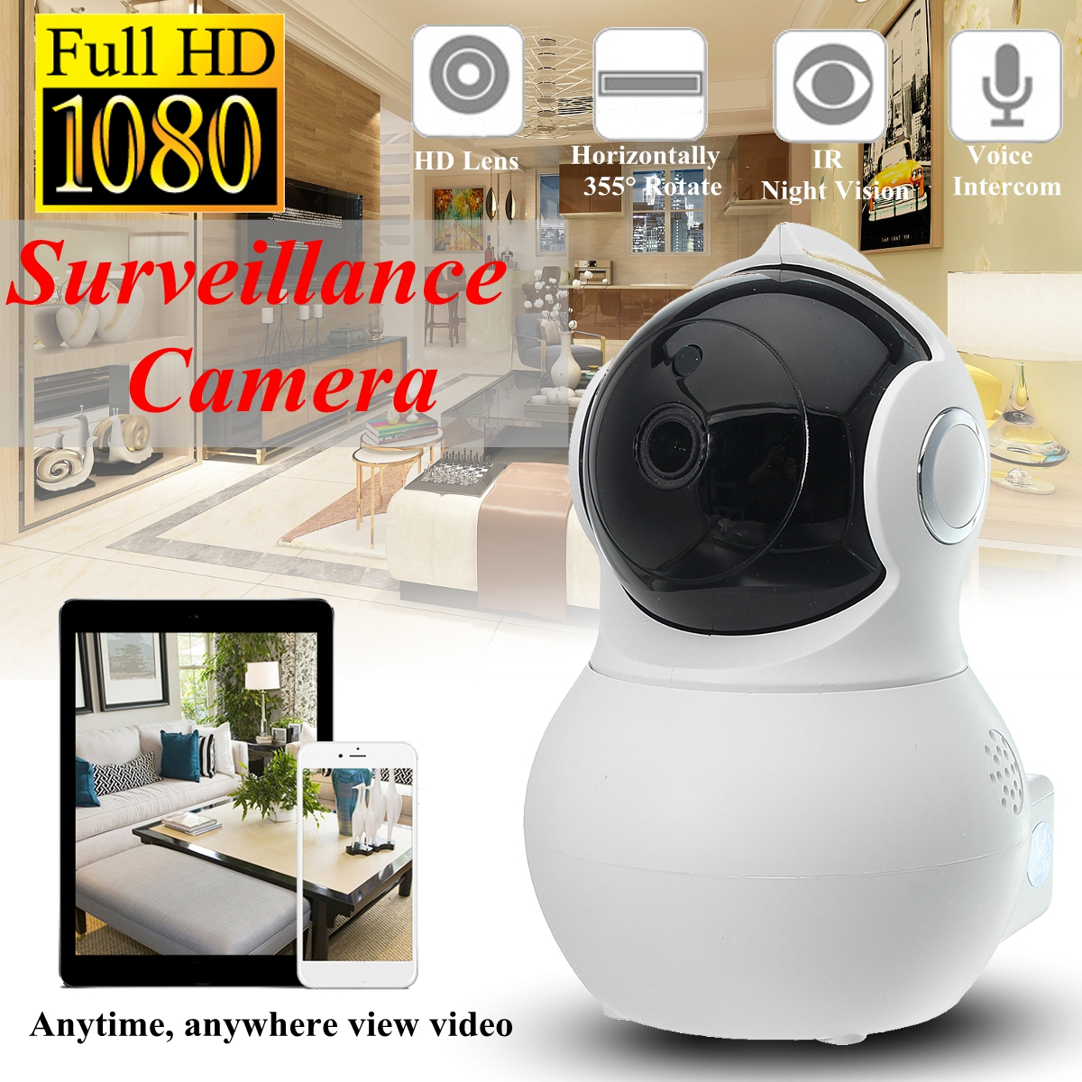 Q8 Home Security 1080P HD IP Camrea Wireless Smart WI-FI Audio CCTV Camera Webcam