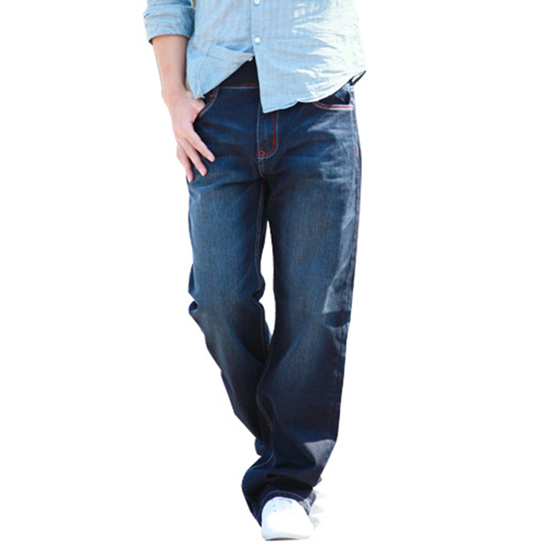 Plus Size 30-48 Loose Straight Leg Jeans for Men