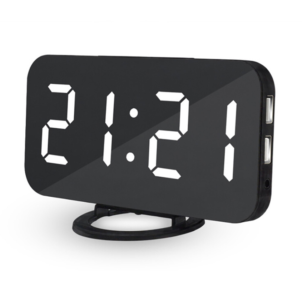 Loskii DC-004 Wireless Electronic LED Digital Desktop Decoration Auto-Brightness-Adjust Alarm Clock with Dual USB Port for Phone bluetooth Speaker Charging