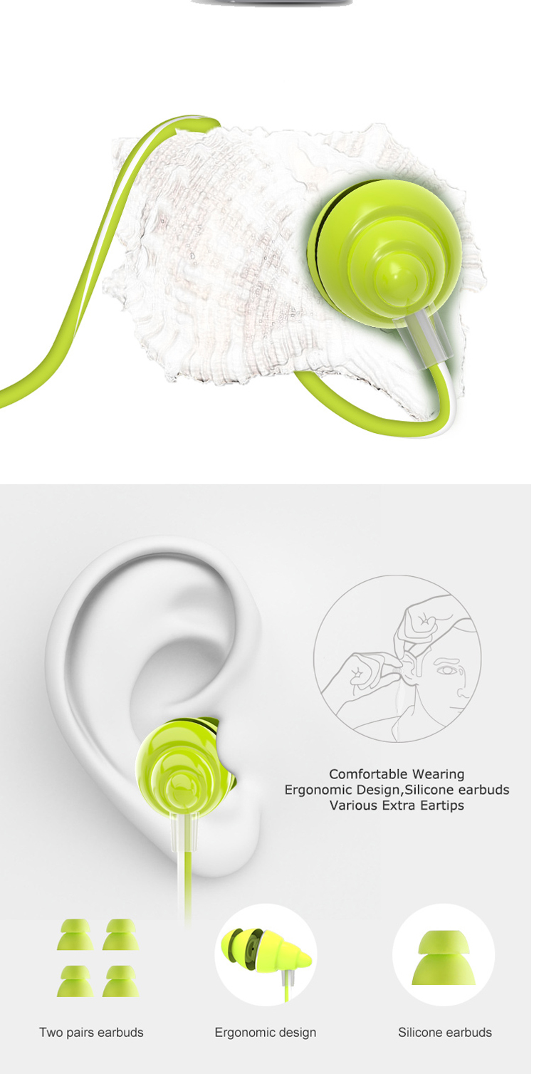 UiiSii F108 3.5mm Wired Earphone Auriculare Headphones with Microphone Stereo Earbud Bass