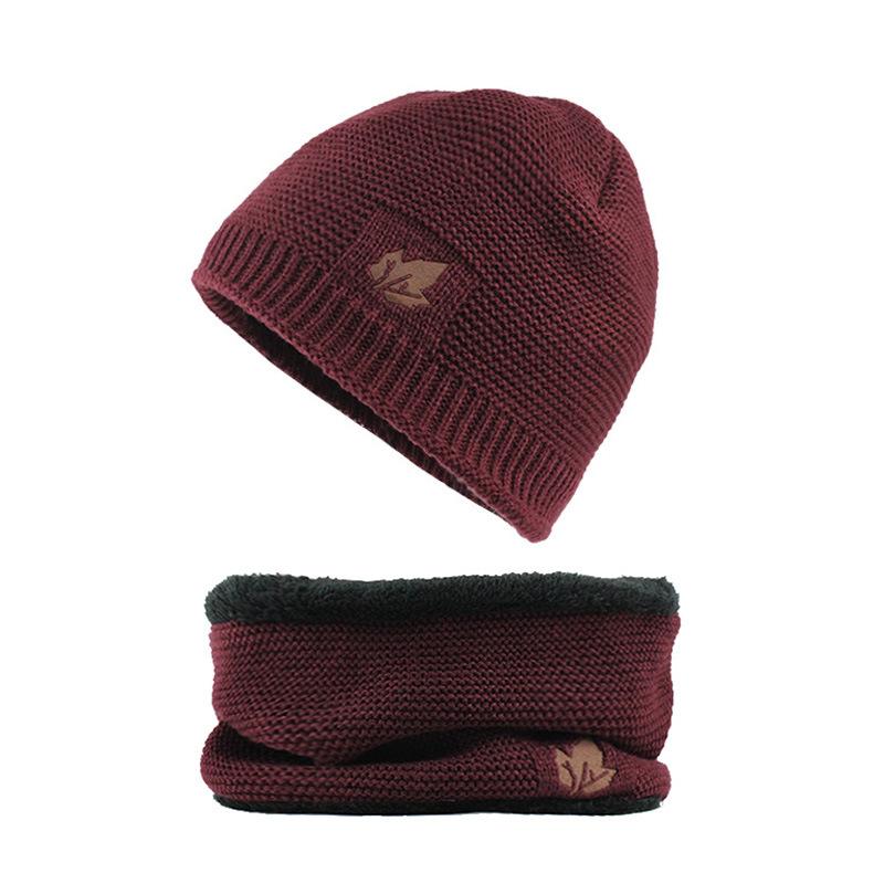 Men Winter Thicken Plus Velvet Knit Hat Scarf Set Beanie