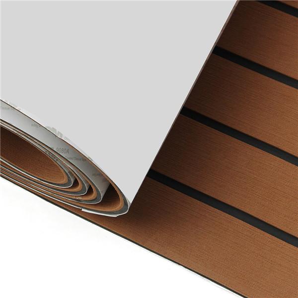 2400x600x6mm EVA Foam Brown With Black Line Boat Flooring Faux Teak Sheet Pad