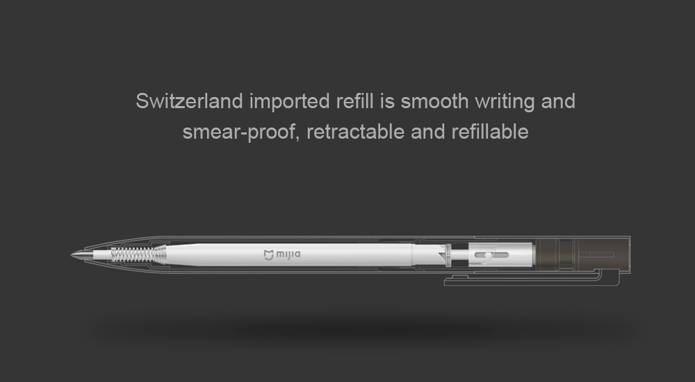 2Pcs Original Xiaomi Mijia 0.5mm Metal Smooth Switzerland Black Refill MiKuni Japan Ink Signing Pen