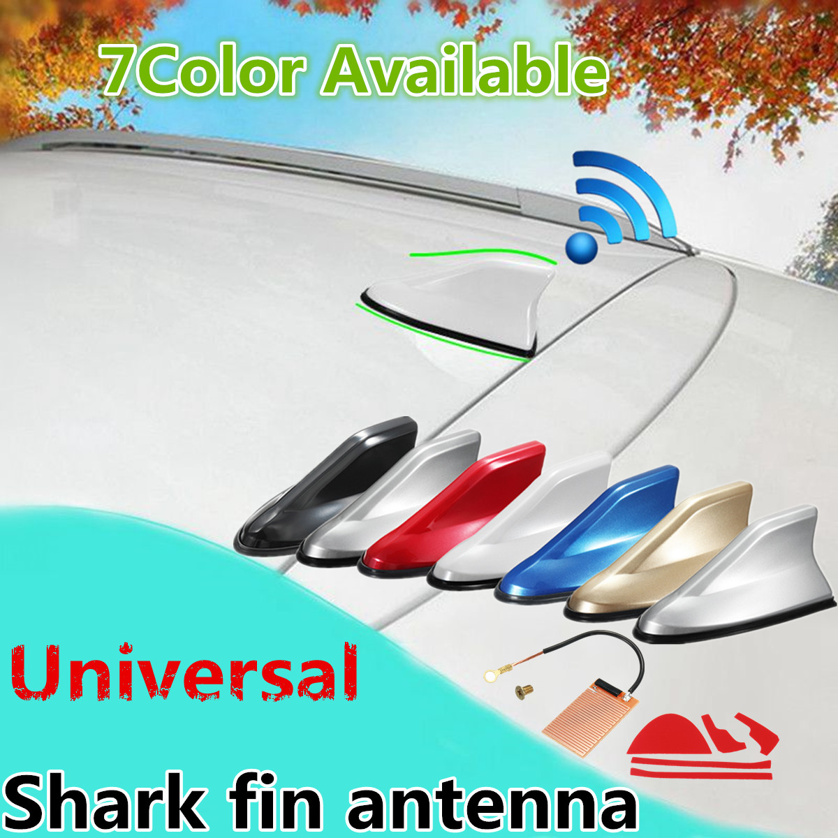 Universal Auto Car Shark Fin Roof Antenna Aerial AM FM Radio Decorate
