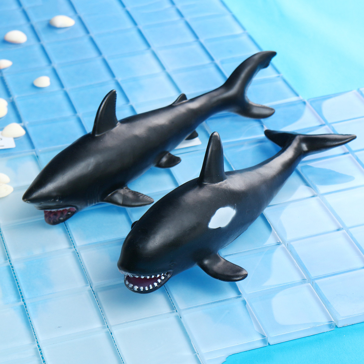 30cm White Shark Killer Whale Soft Model Toys Glue Material
