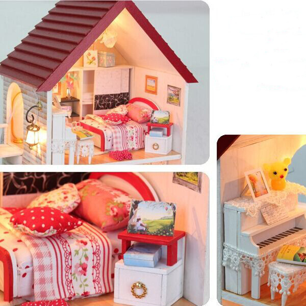 Dreams House Furniture: Hoomeda Diy Wooden Miniature Dream House With Led