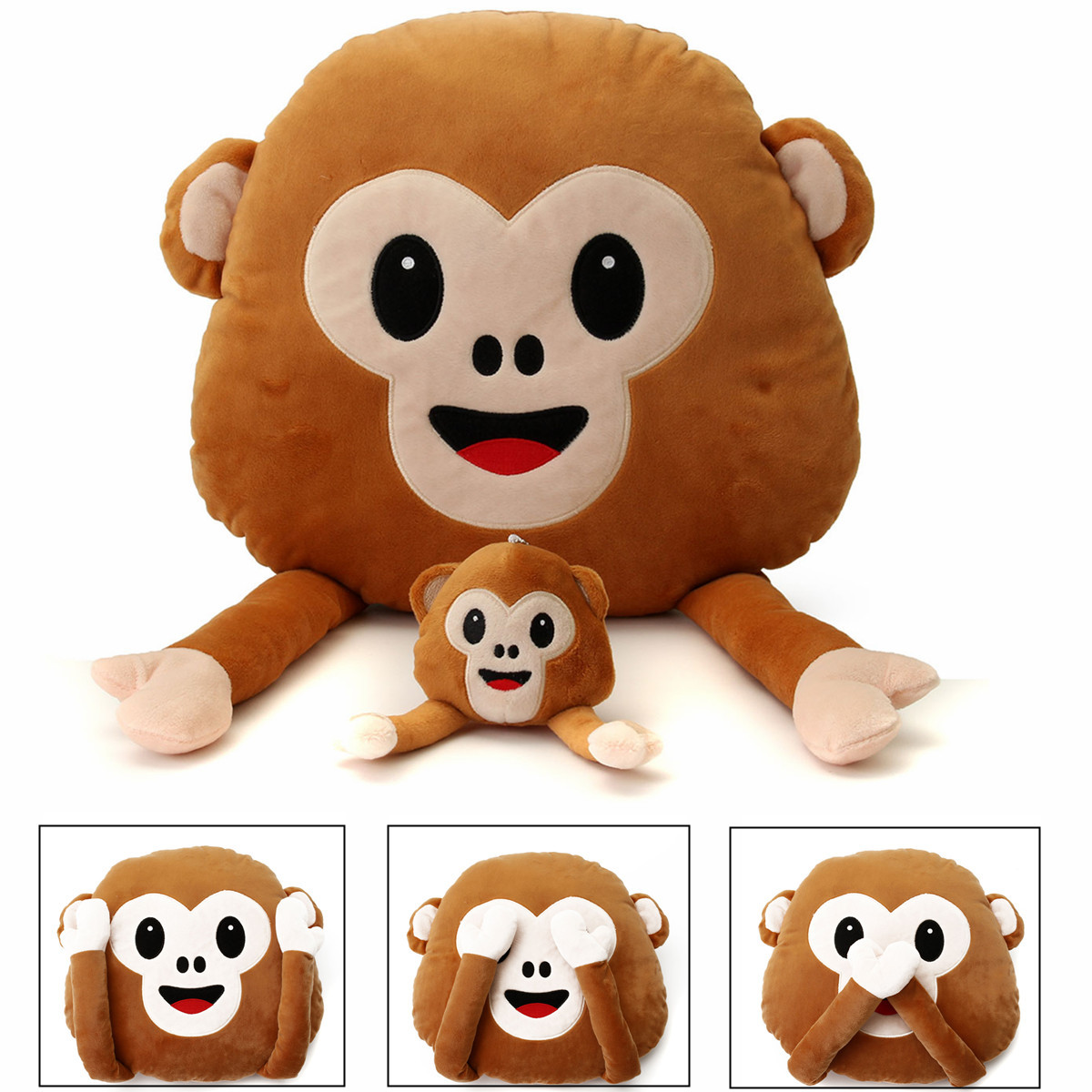 Monkey Emoji Emoticon Throw Plush Stuffed Toy Doll Decor Gift