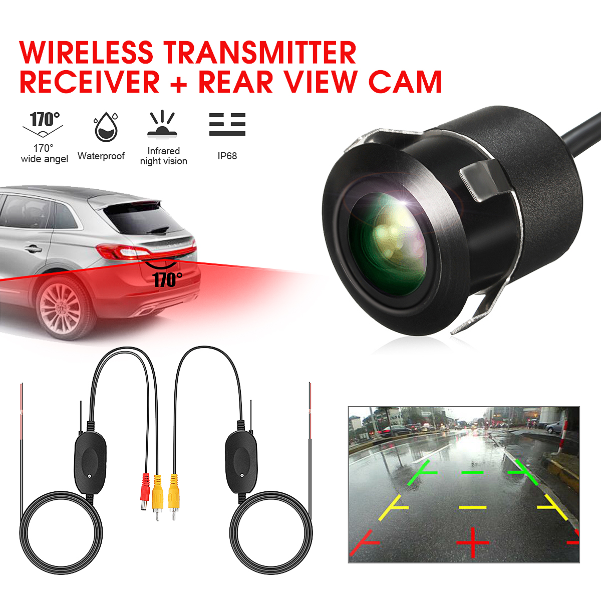 2.4G DC 12V Wireless Rear RCA View Video Transmitter Mini Receiver Backup Car