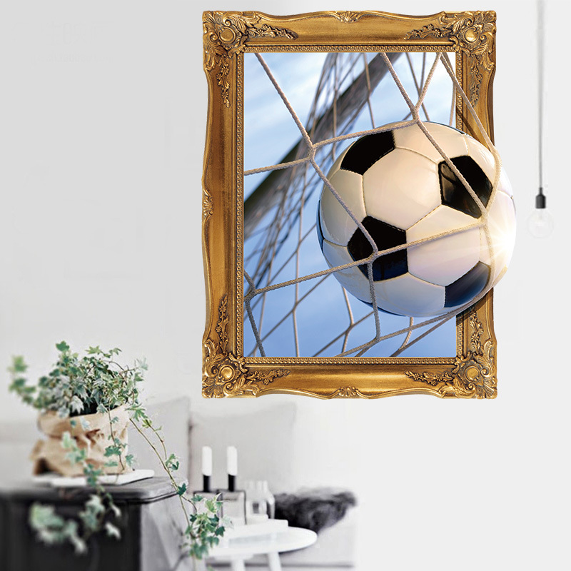 Miico 3D Creative Football Goat Frame PVC Removable Home Room Decorative Wall Door Decor Sticker