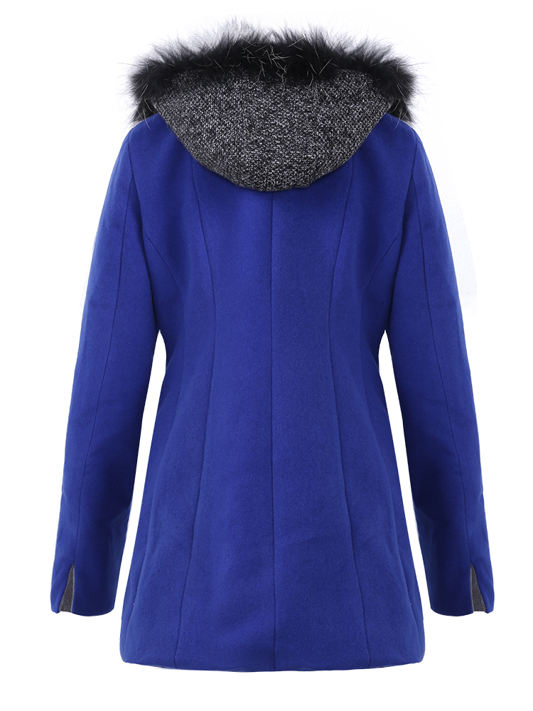 Casual Women Stitching Fur Flax Hooded Coats