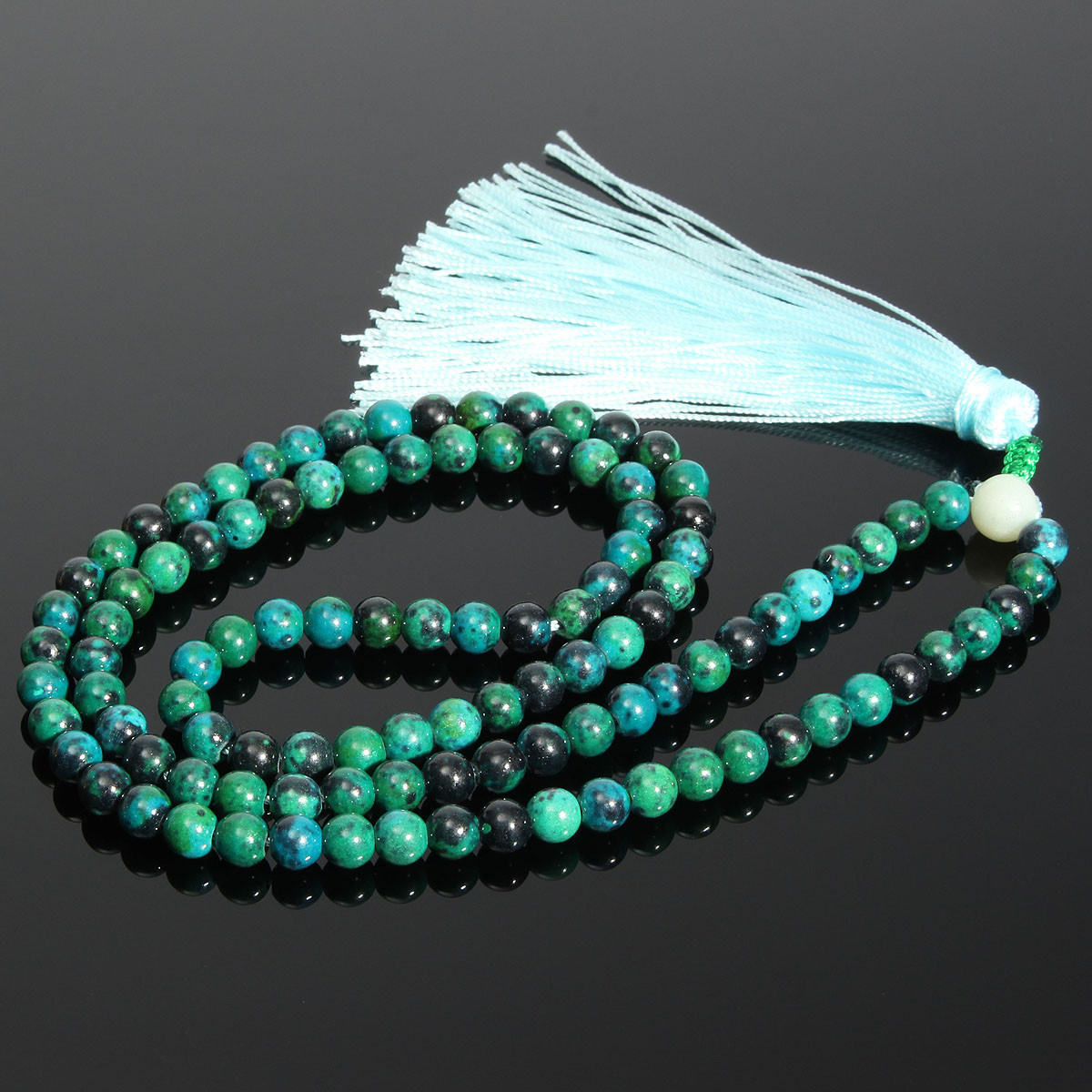 108Pcs 6mm Dark Green Jade Prayer Beads Bracelet Necklace Jewelry