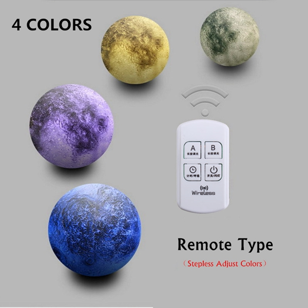 13CM 3D Moon Lamp USB LED Remote Color Changeing Night Light Table Desk Lamp