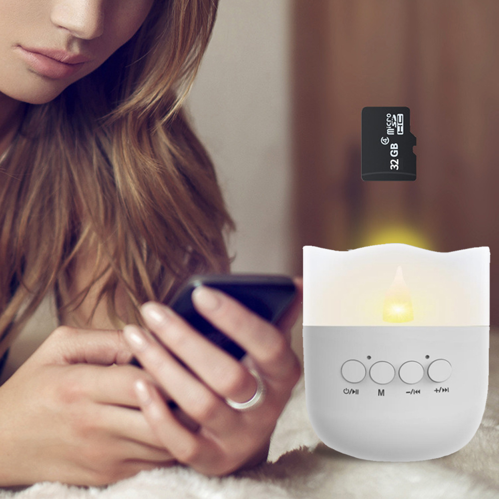 Mini Wireless bluetooth Speaker Warm White USB Portable LED Night Lamp Candle Light DC5V