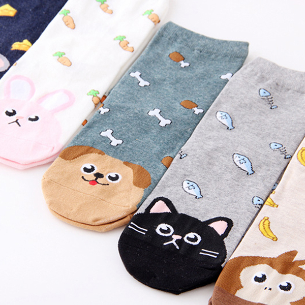 Women Girl Cartoon Cute Adjustable Cotton Ankle Socks