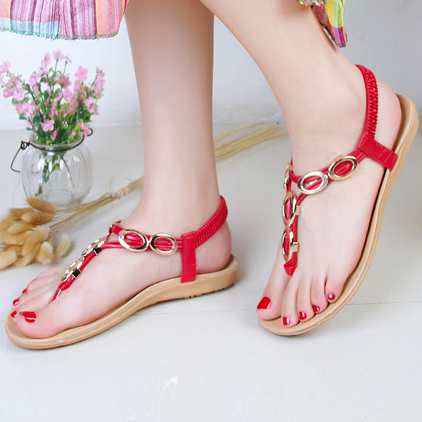 Women Summer Flats Beach Soft Flip Flops Outdoor Fashion Slip On Flats Sandals Shoes