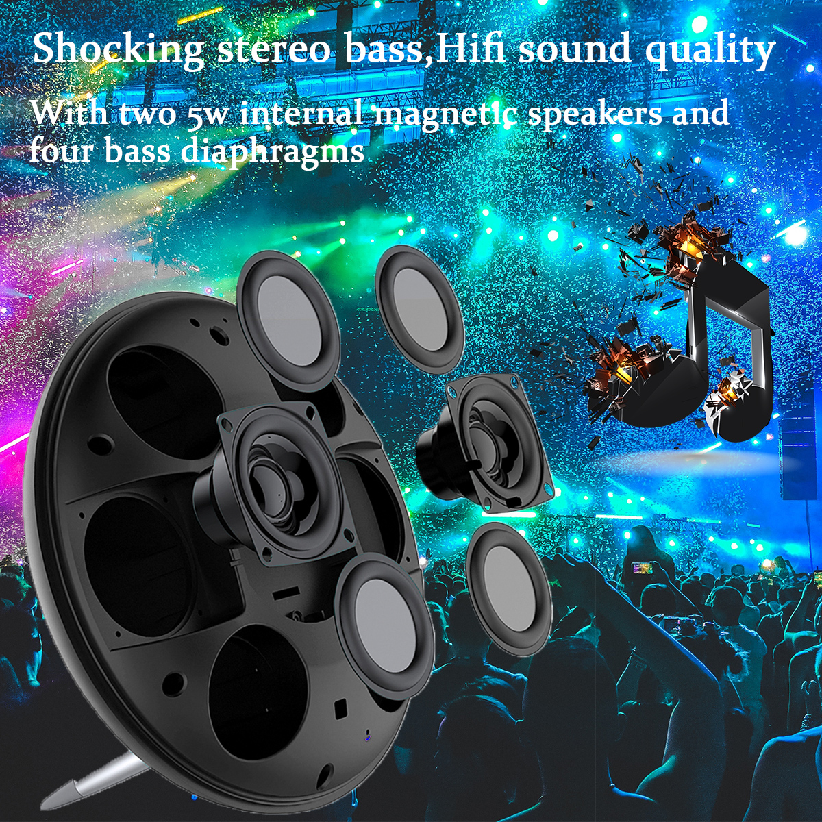 HiFi Wireless bluetooth Speaker Dual Alarm Clock TF Card LED Display Steroe Bass Subwoofer with Mic