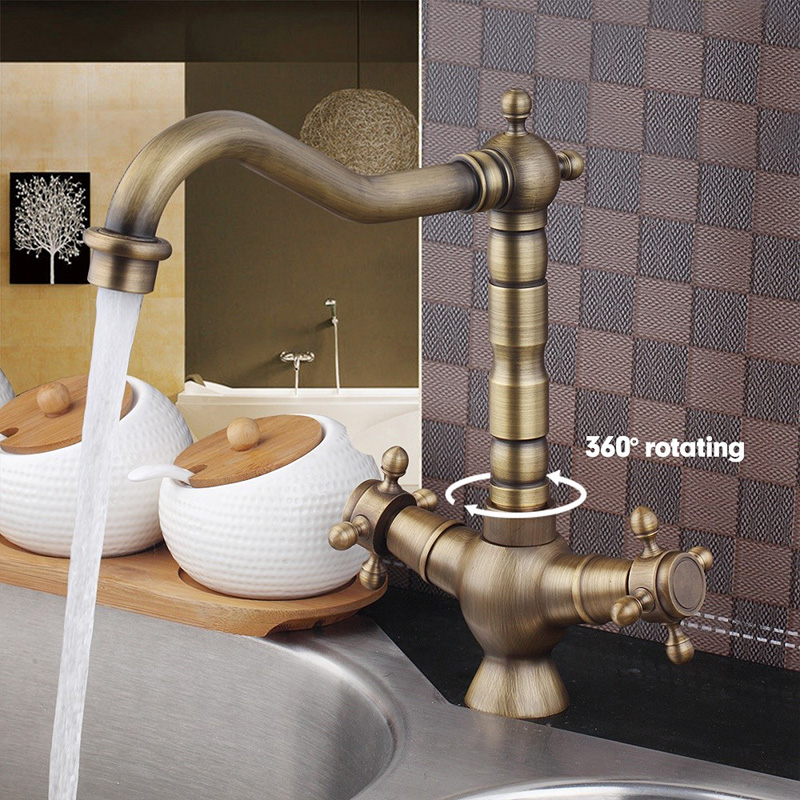 Rotatory Antique Brass Basin Faucet Cold Hot Water Tap Mixer for Kitchen Bathroom Sink