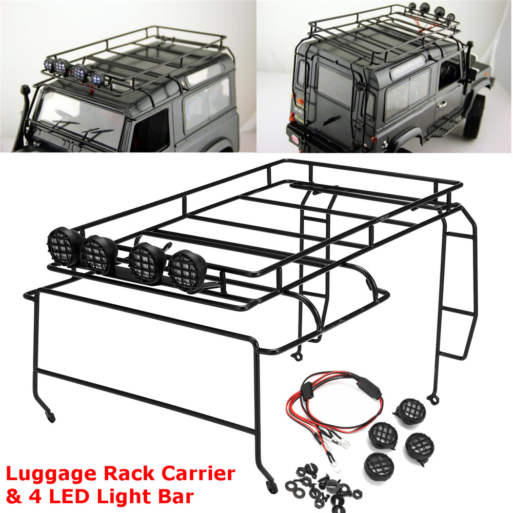 1/10 Roof Luggage Rack 4 LED Light Bar for 1:10 Axial SCX10 RC4WD D90 Crawler Rc Car Parts