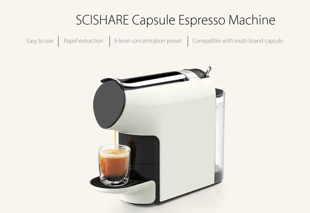 XIAOMI SCISHARE Capsule Espresso Coffee Machine Automatically Extraction Electric Coffee Maker