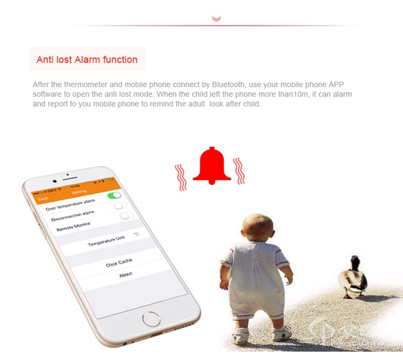 Intelligent Thermometer Temperature Monitor Tracker bluetooth 4.0 Ios 6.0 & Android 4.3 Anti Lost