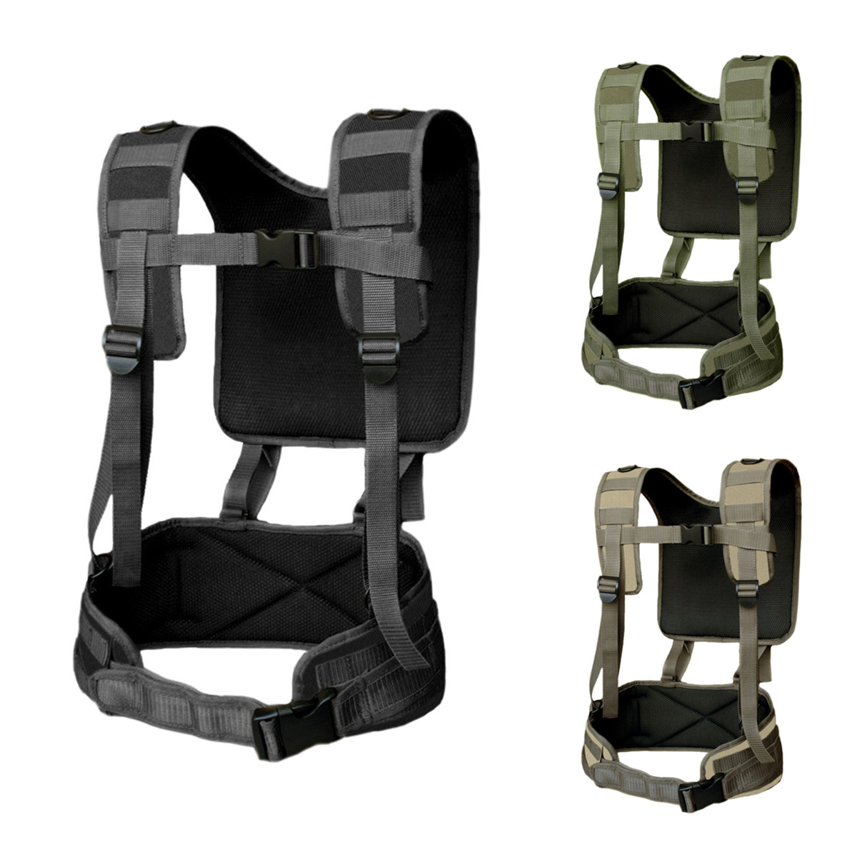 Tactical H-Harness Waist Battle Belt Suspenders Hunting Molle Vest Chest Rig