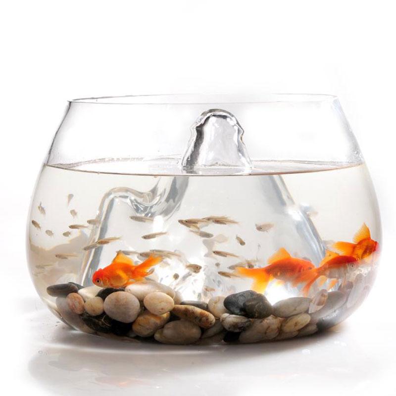 25cm Glass Vase Fish Tank Goldfish Aquarium Bowl Terrarium Decoration