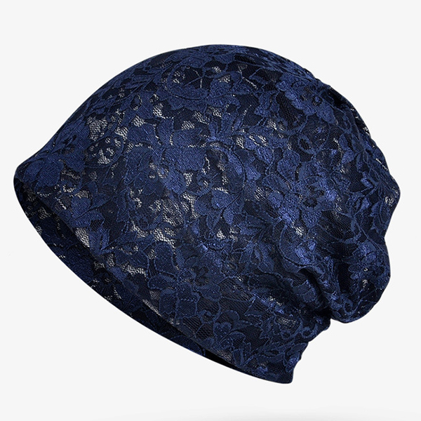 Women Summer Flower Lace Cap Beanie Skull Cap and Scarves Dual Use Hat Collar Bonnet Hats