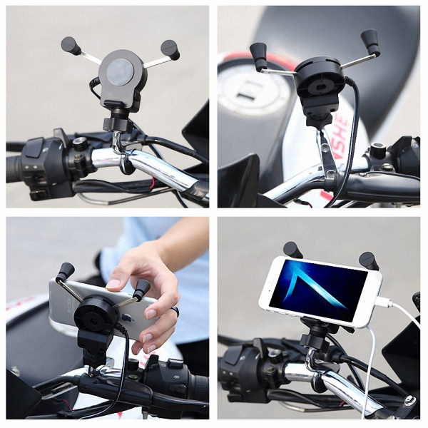 4.5-6 inch Phone Holder USB Charger Motorcycle Bicycle Mount W/ Fuse For iPhone 8 Huawei