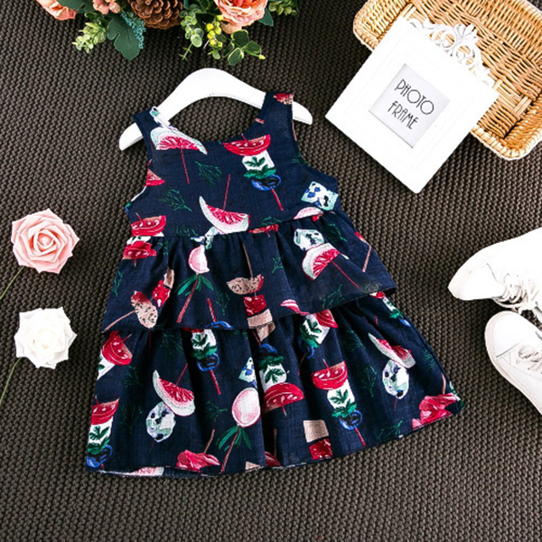 Kid Girls Cute Candy Pattern Sleeveless Layered Dress