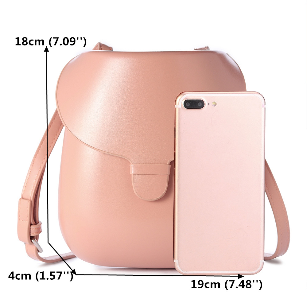 Women Faux Leather Round Little Phone Bag