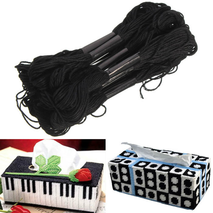 12pcs Black Polyester Cotton Cross Stitch Embroidery Thread DIY Sewing Accessories