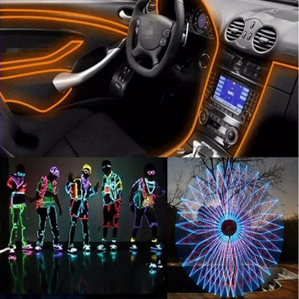 3M EL Led Flexible Soft Tube Wire Neon Glow Car Rope Strip Light Xmas Decor DC 12V