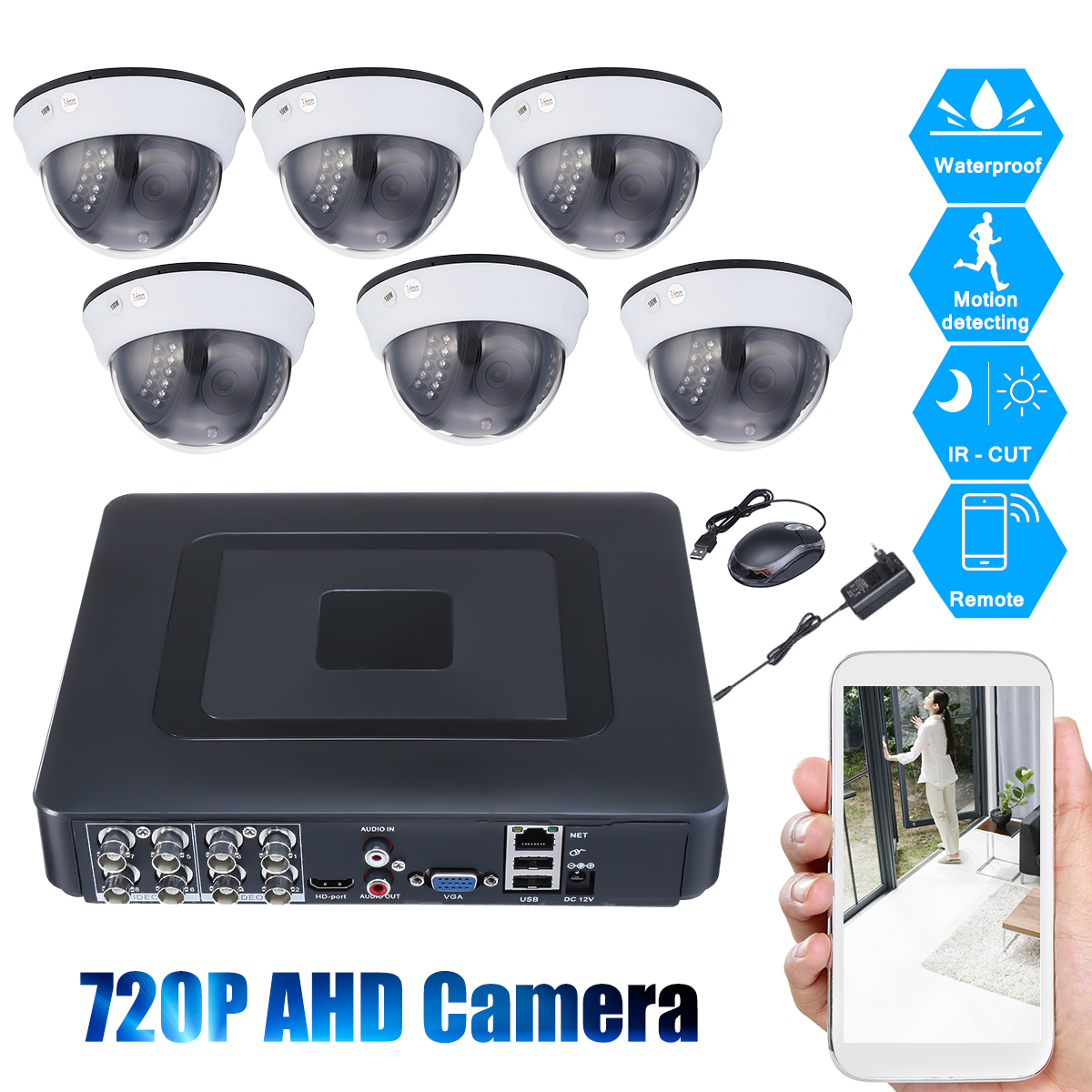 8CH CCTV DVR Motion Detection Night Vision 720P Camera Security Surveillance Camera System
