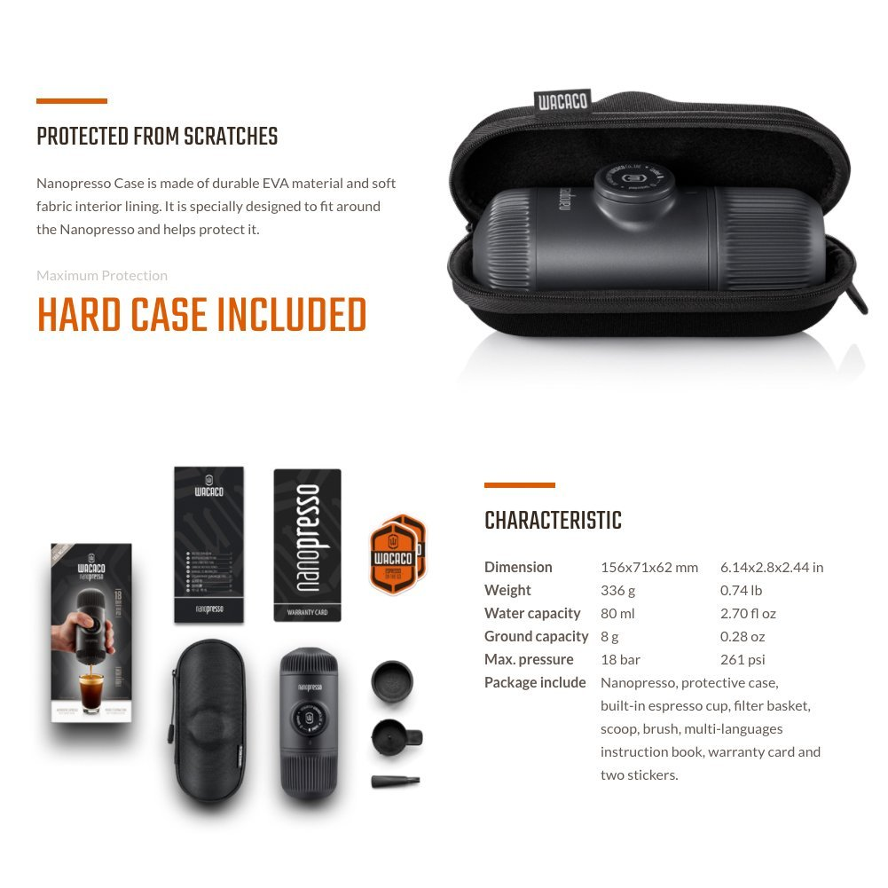 WACACO Nanopresso Portable Espresso Machine Outdoor Handheld Mini Pressing Coffee Espresso Machine