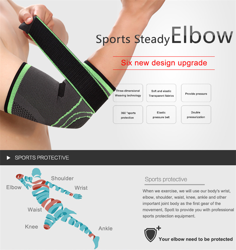 BIKIGHT Sports Elbow Pad Support Sleeve Protector Adjustable Elastic Nylon Fitness Running Cycling Arm Pad