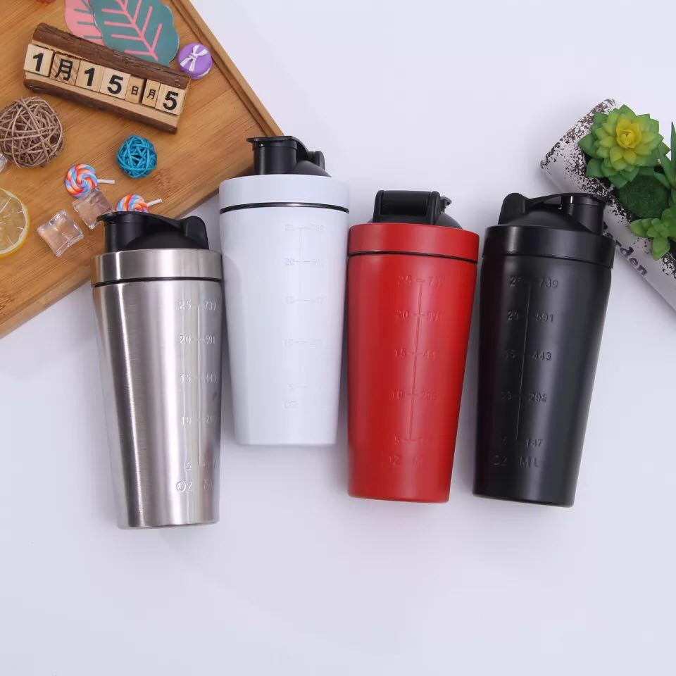 750ML Double Wall Water Bottle Stainless Steel Vacuum Flask Thermos Bottle Protein Shaker Cup