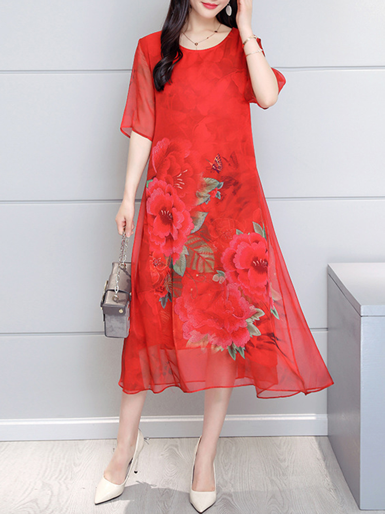 Vintage Short Sleeve Floral Silk Dress