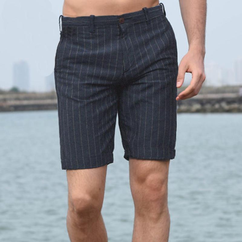 Мужские льняные повседневные шорты с вертикальной полосой