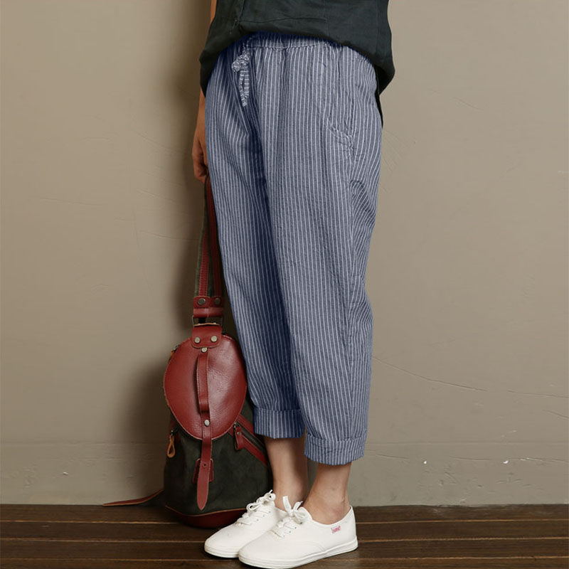 Women Stripe High Elastic Waist Loose Long Harem Pants