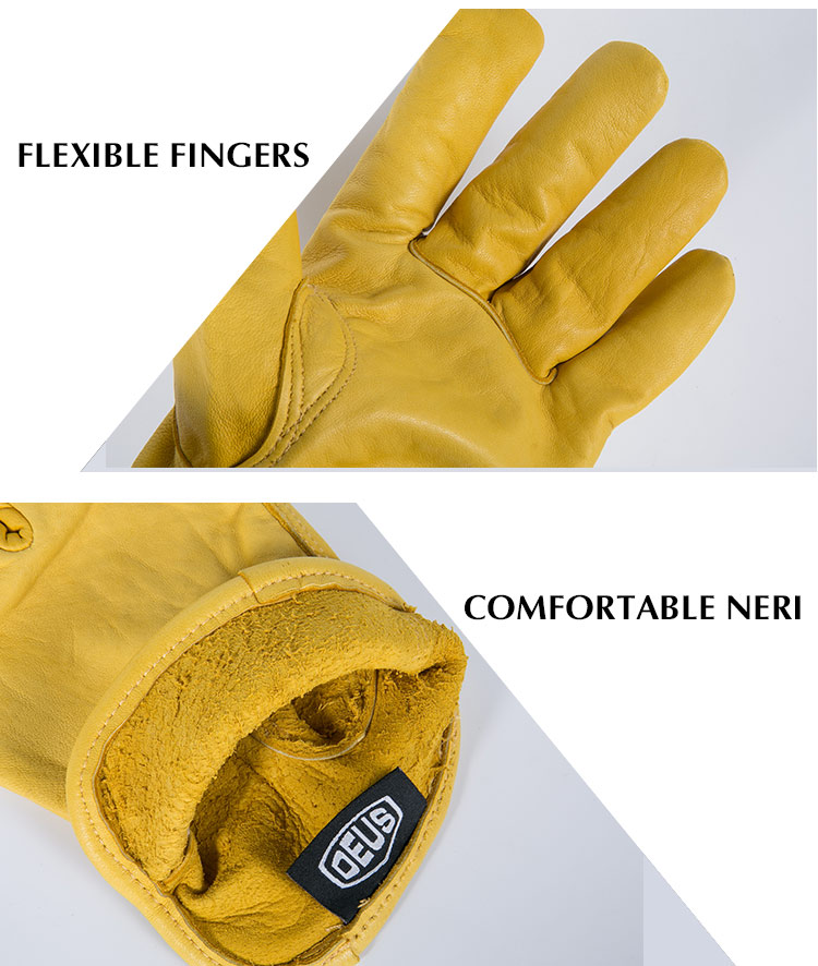OZERO Men's Work Gloves Goat Leather Security Protection Cutting Working Repairman Racing Glove
