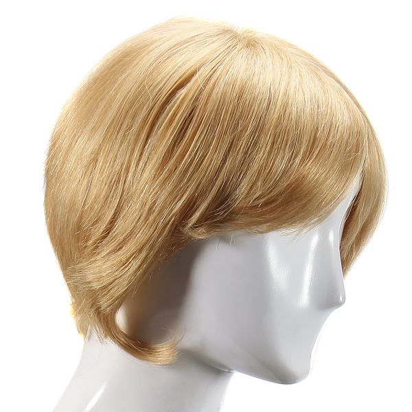 Charming Human Hair Wig Short Straight Side Bang Fluffy Capless Virgin Remy Mono Top