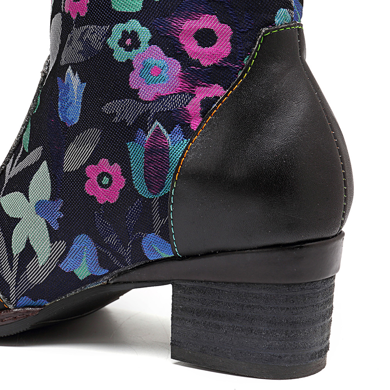 SOCOFY Genuine Leather Handmade Floral Slip On Ankle Boots