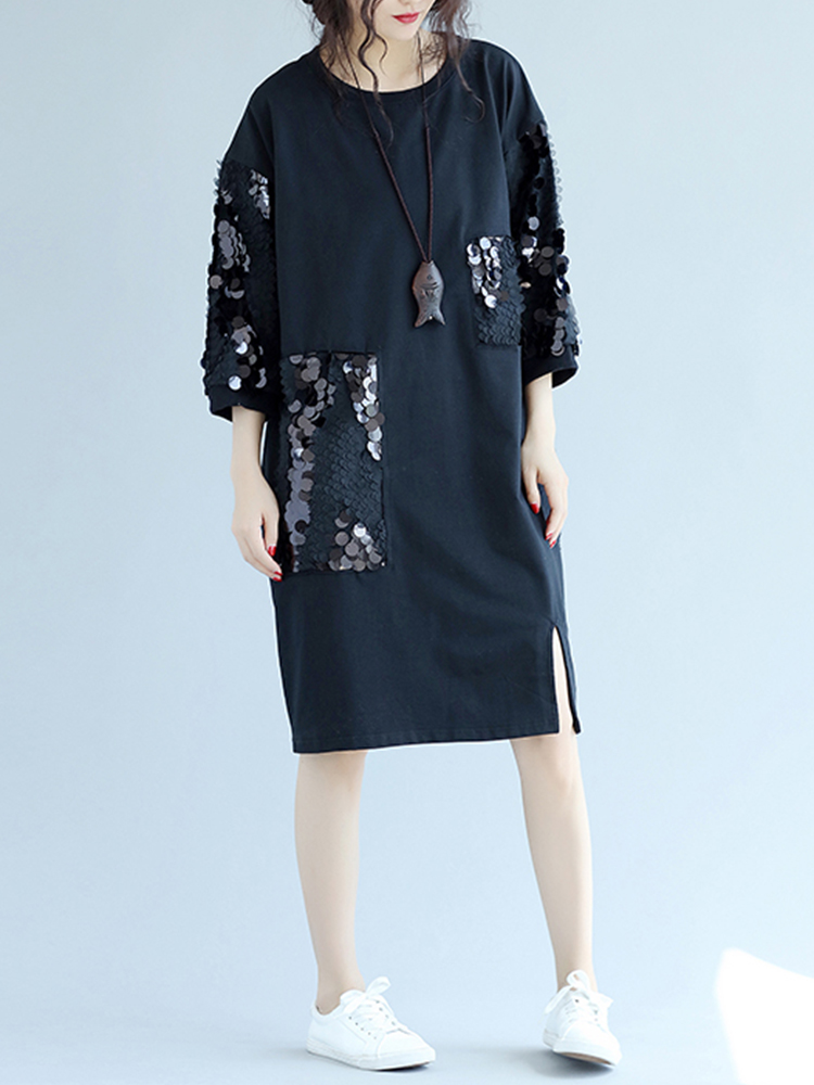 Casual Sequined O-Neck 3/4 Sleeve Knee-Length Women Dresses