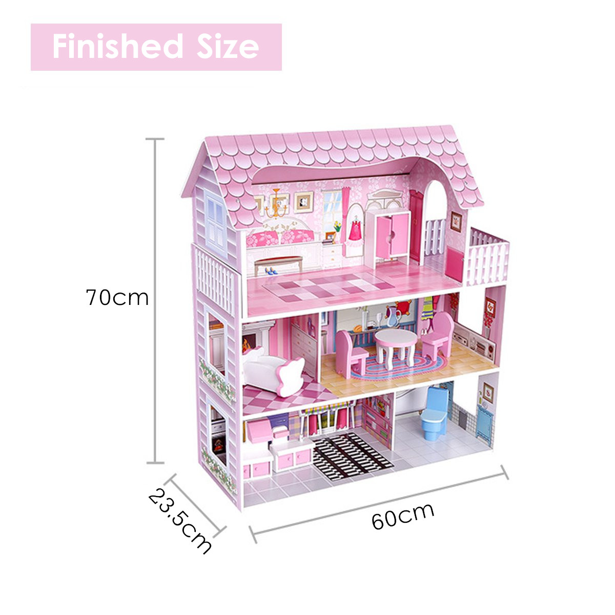 Wooden Doll House 3 Level Girls Pretend Play Furniture Porch Sink Crib Toilet Chair Furniture Set Large Toy Pink Princess Gift