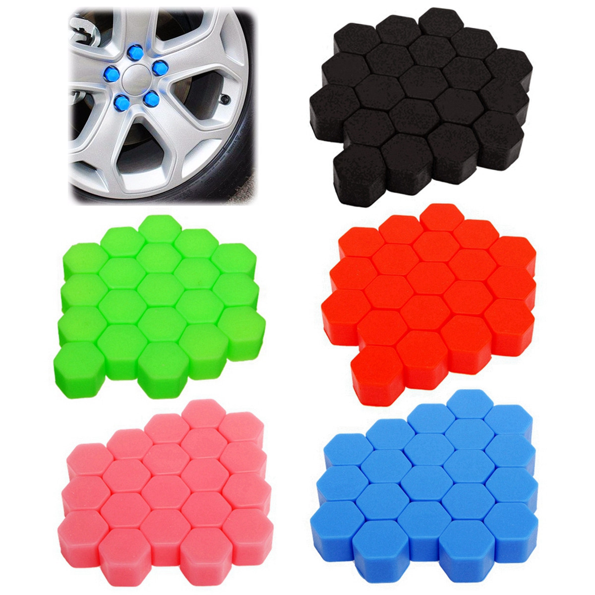 20PCS 19mm Auto Car Silicone Wheel Nuts Hub Covers Screw Dust Protective Caps