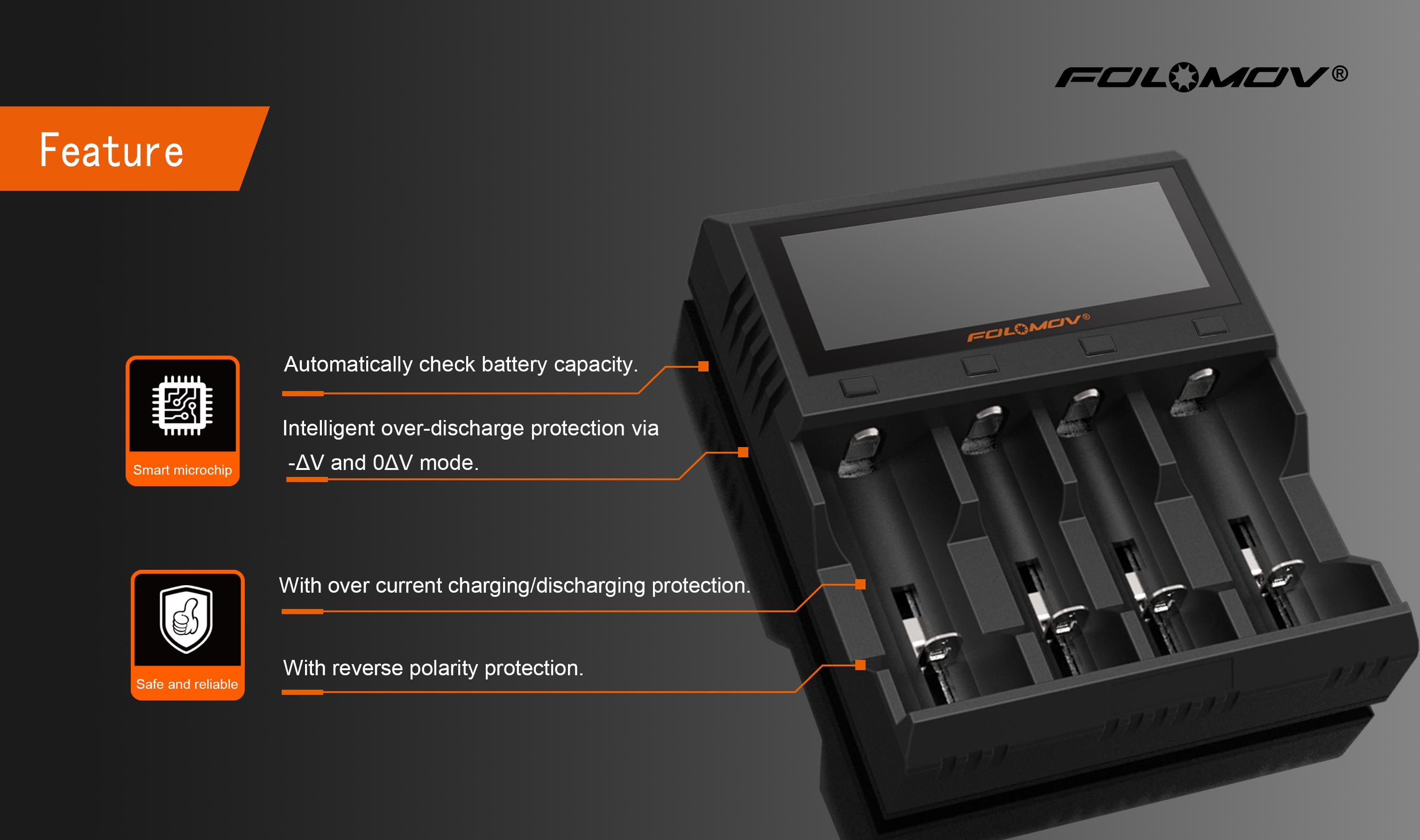 Folomov A4 Lcd Display High Current Quick Charge Intelligent Battery Charger 4slots