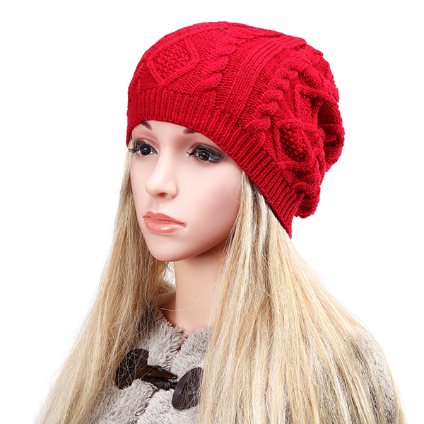 Women Fashion Warm Soft Double Helix Wool Cap Knit Autumn Winter Hat
