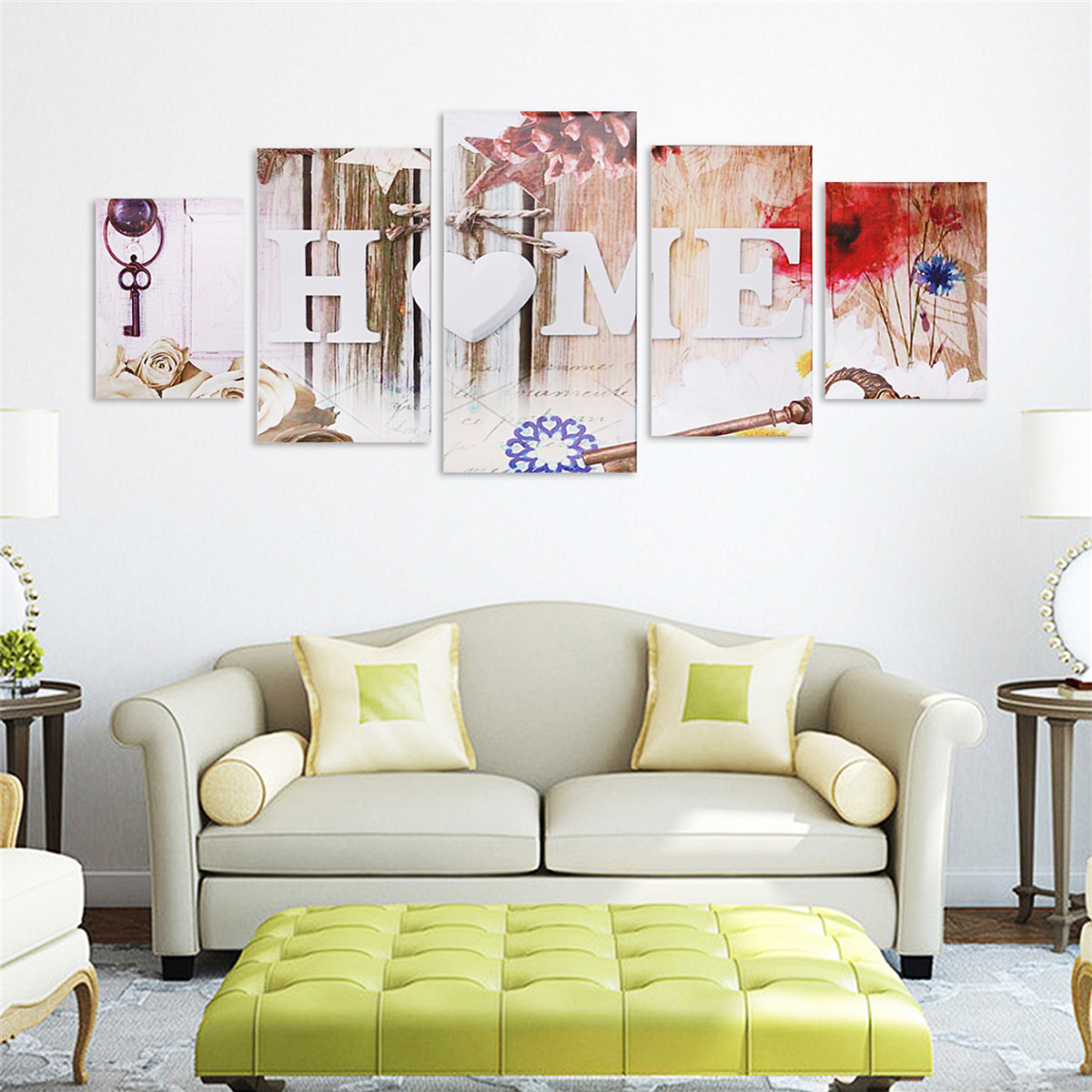 5 Panels Love HOME Wall Art Print Pictures Canvas Wall Art Prints Unframed For Home Decoration