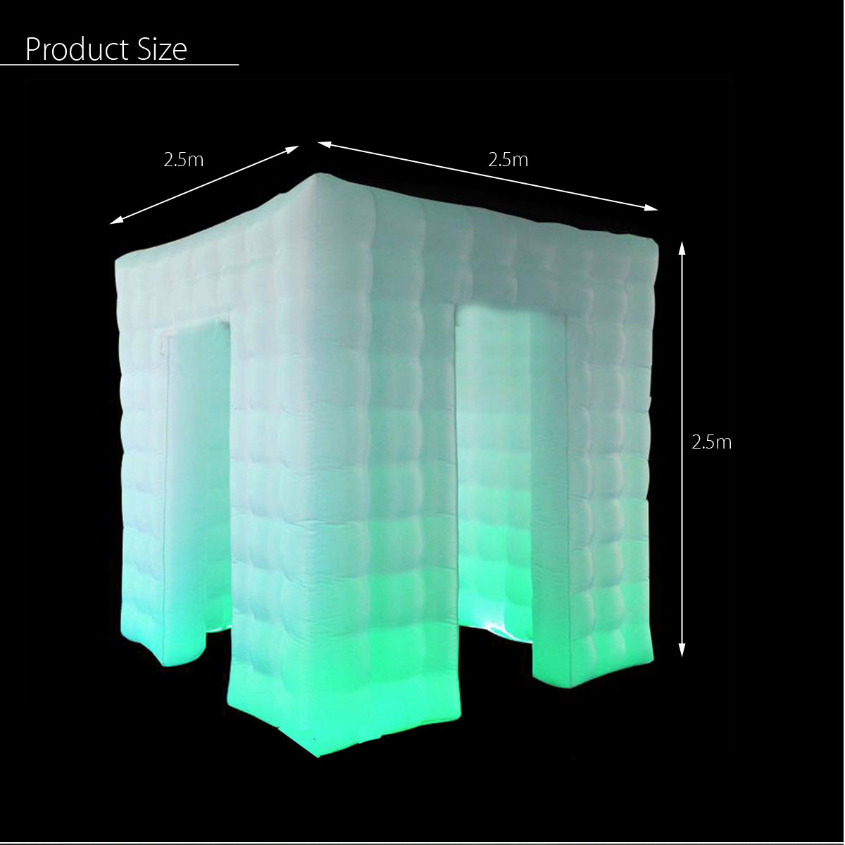110V 2.6M Single Double Triple Door Inflatable LED Photo Shooting Tent